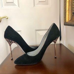 Sergio Rossi Black Suede Scarpe Donna Heels